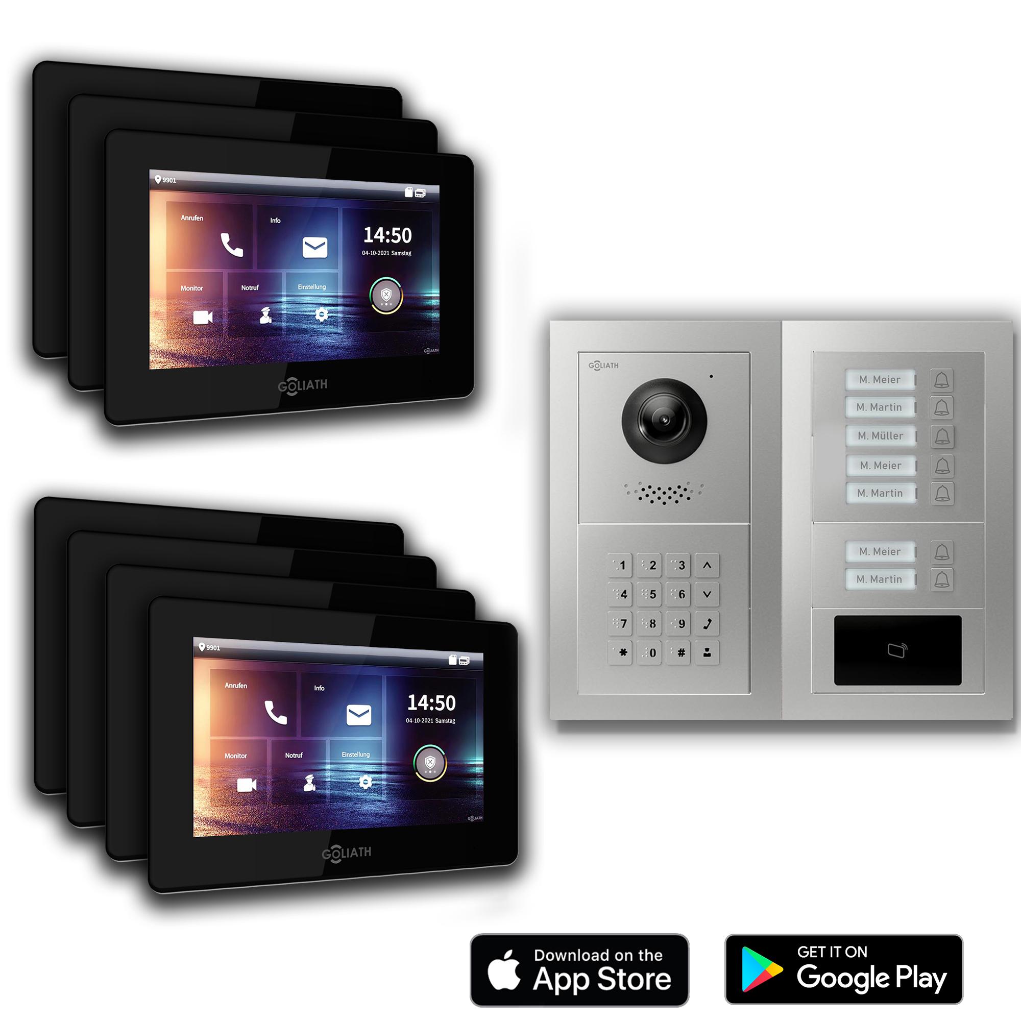2-Draht Türsprechanlage 7-Familienhaus Zahlencode RFID